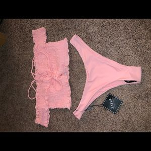 Zaful pink off-the-shoulder bikini